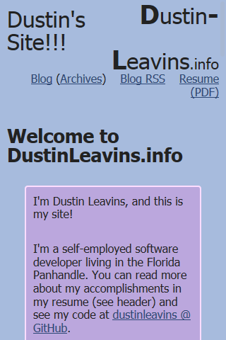 Index of new Dustin-Leavins.info as it originally appeared on mobile devices