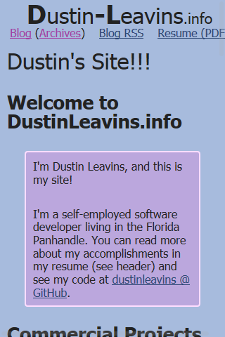 Index of new Dustin-Leavins.info as seen on some mobile devices