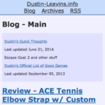 Blog index of new Dustin-Leavins.info (2014)