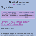 Blog index of old Dustin-Leavins.info