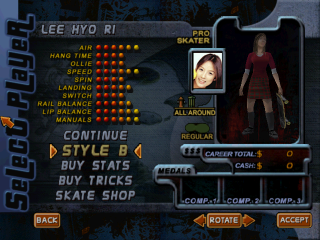 Screenshot of THPS2 Korean - Lee Hyo Ri's Style B