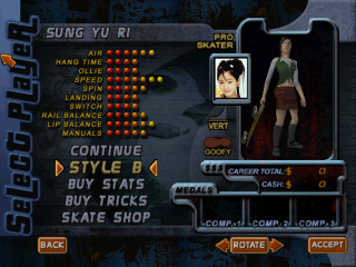 Screenshot of THPS2 Korean - Sung Yu Ri's Style B
